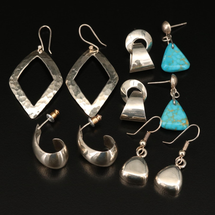 Sterling Earrings Featuring Chrysocolla Accents