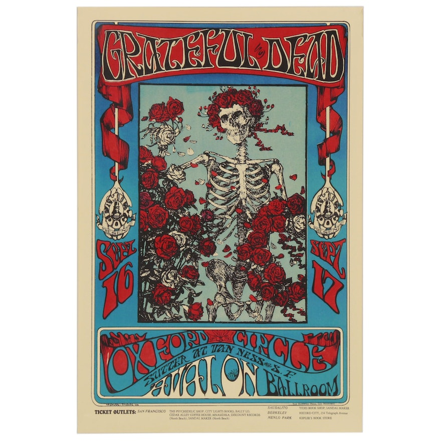 """Digital Print after Alton Kelly and Stanley Mouse """"The Grateful Dead"""" Poster"""