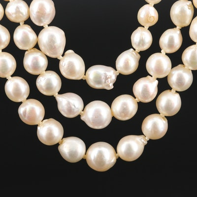 Graduated Triple Strand Pearl Necklace with 14K and 10K Diamond Accented Clasp