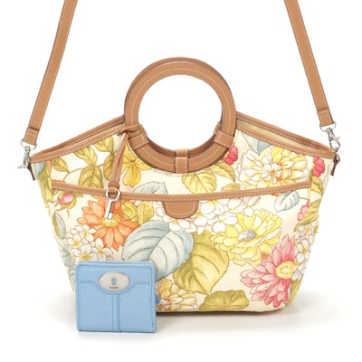 Fossil Canvas Floral Leather Top Handle Bag with Leather Bifold Wallet