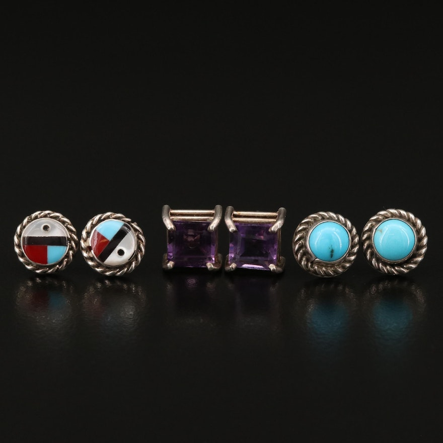 Sterling Silver Stud Earrings Featuring Western Style and Amethyst