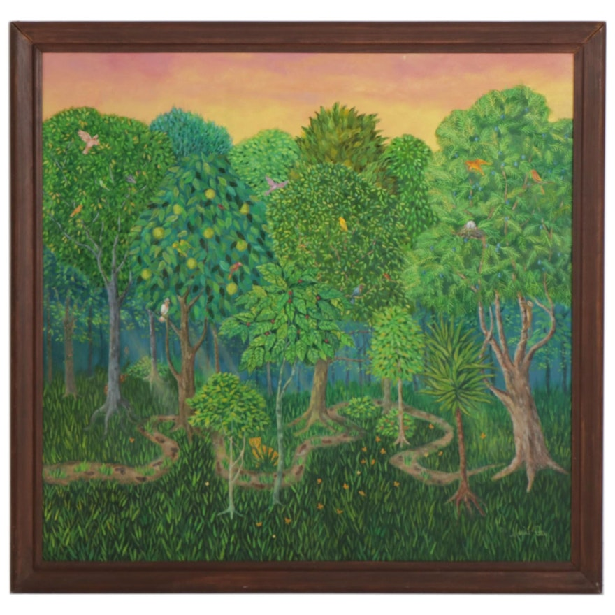 """Maxine Guy Oil Painting """"The Savage Garden,"""" Late 20th Century"""