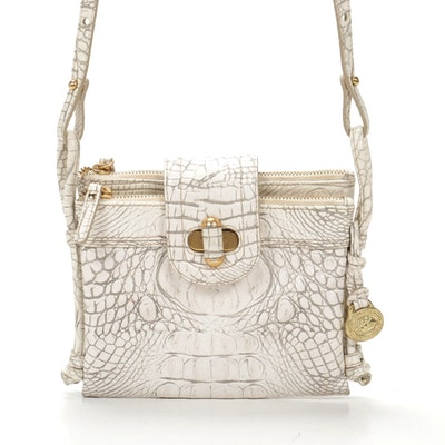 Brahmin Crocodile Embossed Leather Crossbody Bag
