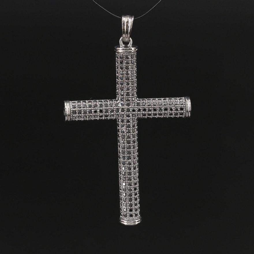 Sterling Silver Spinel Cross Pendant