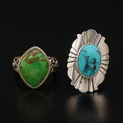 Sterling Gemstone Rings Featuring Leonard and Marian Nez Navajo Diné
