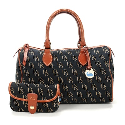 Dooney & Bourke Satchel in Blue Monogram Canvas and Leather with Pochette