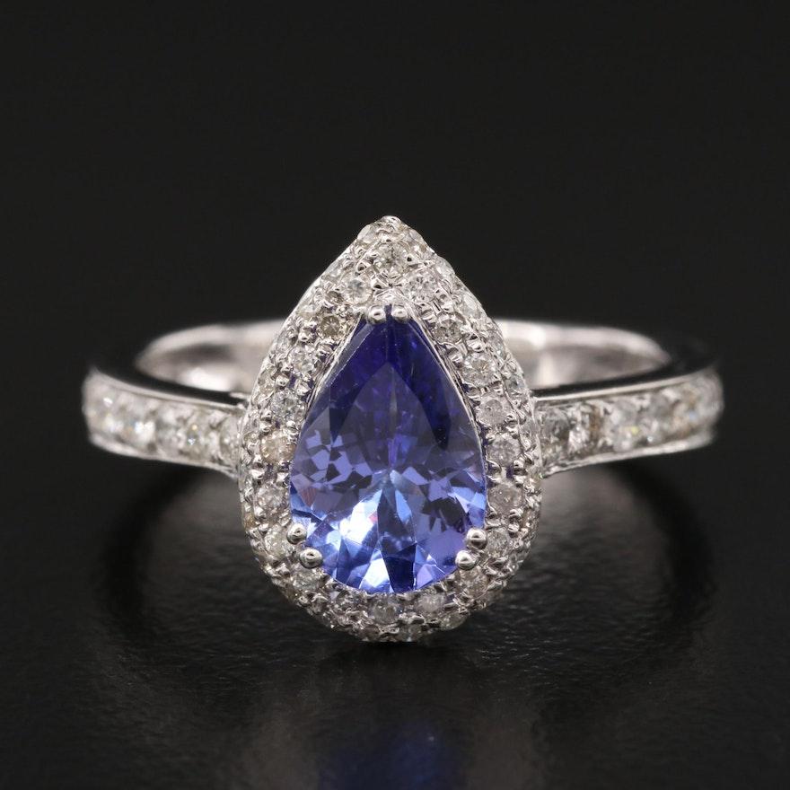 14K 1.40 CT Tanzanite and Diamond Ring