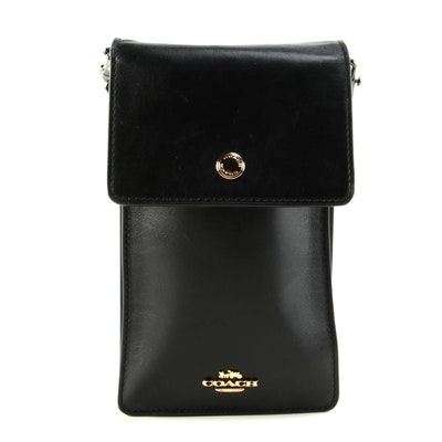 Coach Snap Phone Flap Front Crossbody Bag in Black Leather