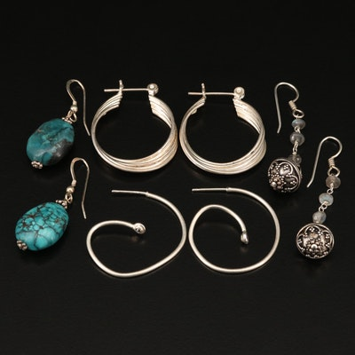 Sterling Silver Earring Selection with Turquoise and Labradorite