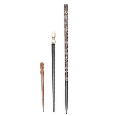 Wooden Hair Sticks with Abalone, Geode and Foil Back Glass Detail
