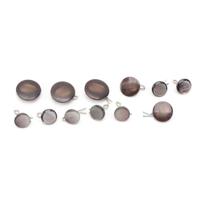 Dyed Mother-of-Pearl and Resin Flat Shank Buttons in Various Sizes