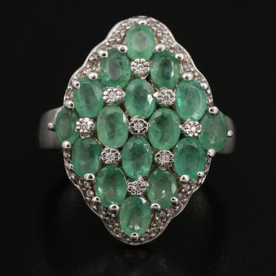 Sterling Silver Emerald and White Zirconia Cluster Ring