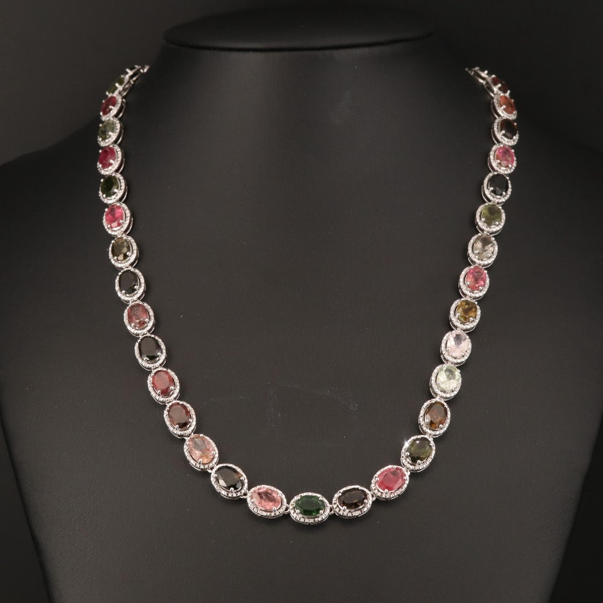 Sterling Tourmaline and Diamond Necklace
