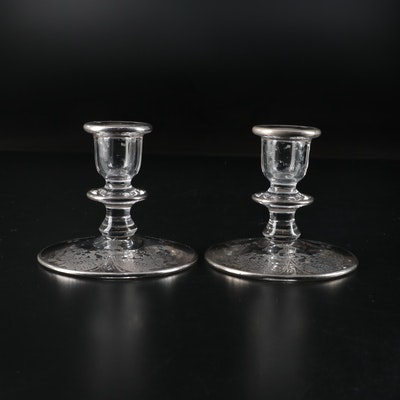 Silver Lacework Overlay Glass Candle Holders