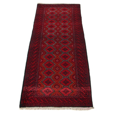 2'2 x 5'11 Hand-Knotted Persian Turkmen Carpet Runner, 1970s