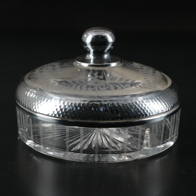 Crystal Lidded Candy Dish, Mid 20th Century