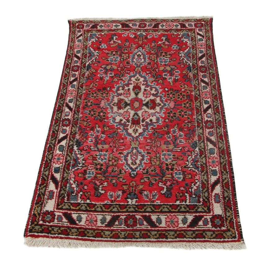 2'8 x 5' Hand-Knotted Persian Hamadan Accent Rug, 1930s