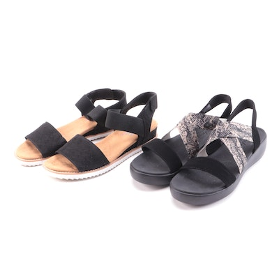 Bobs From Skechers and Skechers Cali Black and Snake Print Sandals