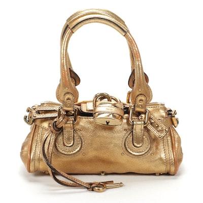 Chloé Mini Paddington Bag in Metallic Gold Leather