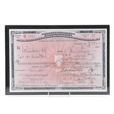 Framed 1924 Prohibition Era Alcohol Prescription from Beaver Falls, Pennsylvania