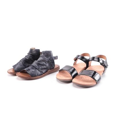 Vionic Black Patent Leather and Miz Mooz Metallic Sandals