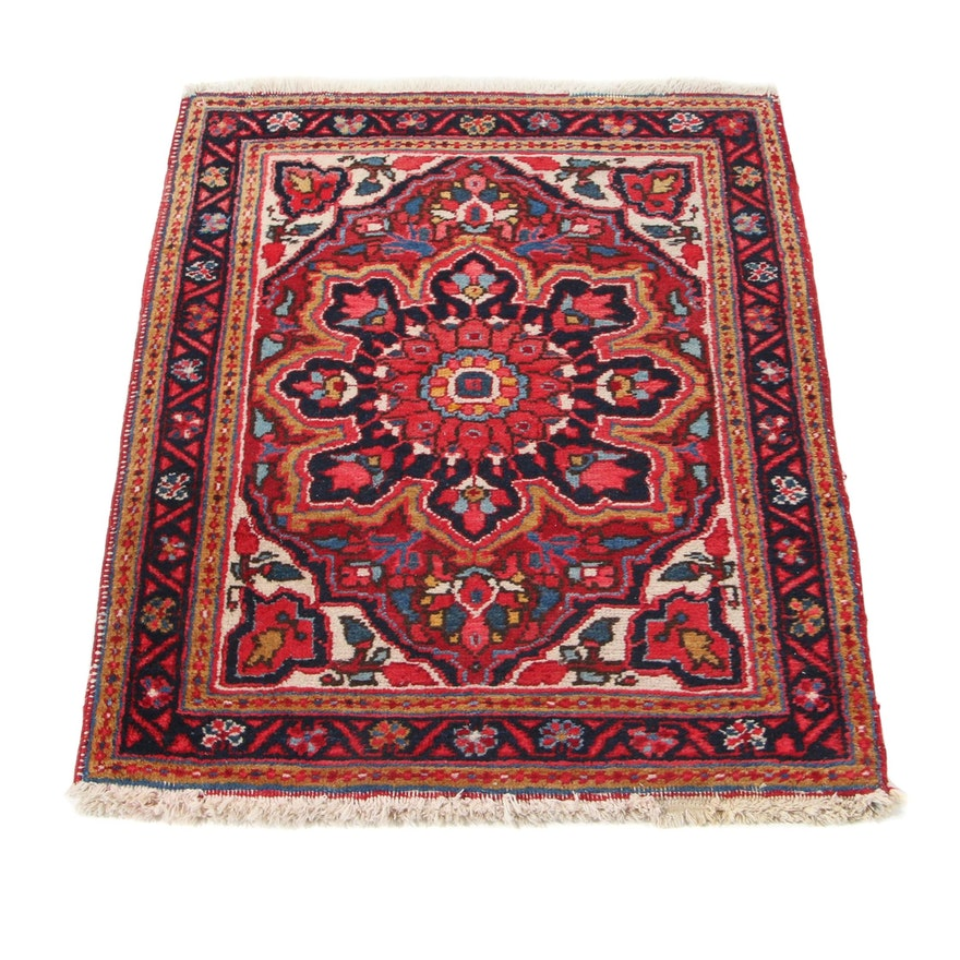 2'6 x 3'2 Hand-Knotted Persian Heriz Accent Rug, 1960s