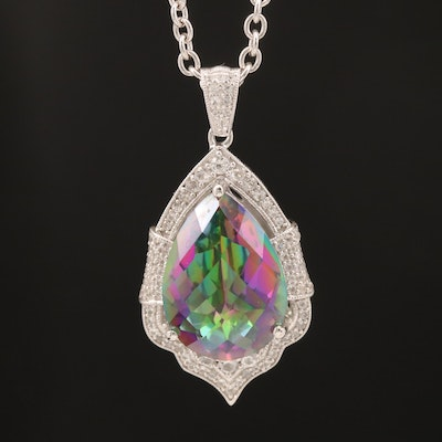 Sterling Mystic Quartz and White Sapphire Necklace