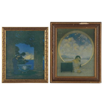 """Offset Lithographs after Maxfield Parrish """"Pandora's Box"""" and """"Circe's Palace"""""""