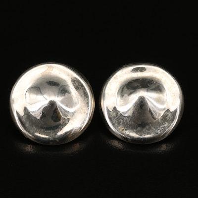 Vintage Sterling Silver Disk Clip Earrings