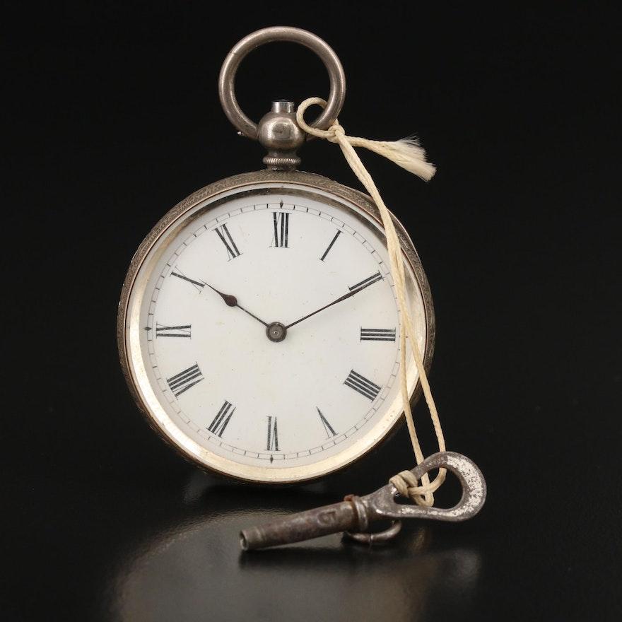 Antique 935 Silver Pocket Watch