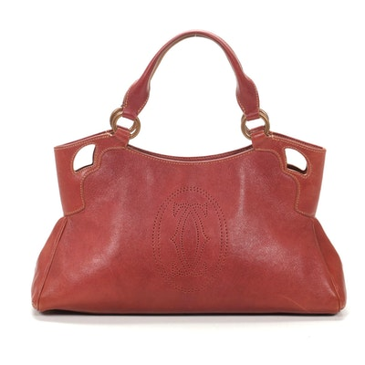 Cartier Marcello Shoulder Bag in Grained Rose Leather with Contrast Stitching