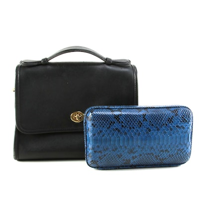 Black Leather Top Handle Bag and Blue Dyed Python Snakeskin Clutch