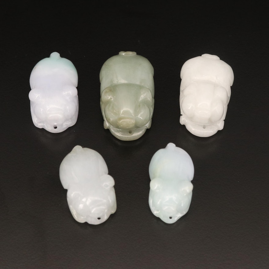 Loose Carved Jadeite Pigs