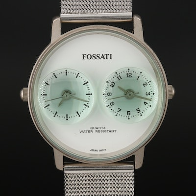 Fossati Dual Time Stainless Steel Quartz Wristwatch