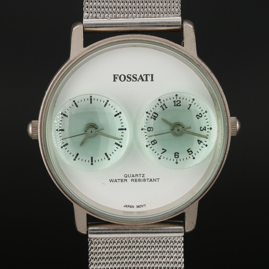 Fossati Dual Time Stainless Steel Quartz Wristwatch