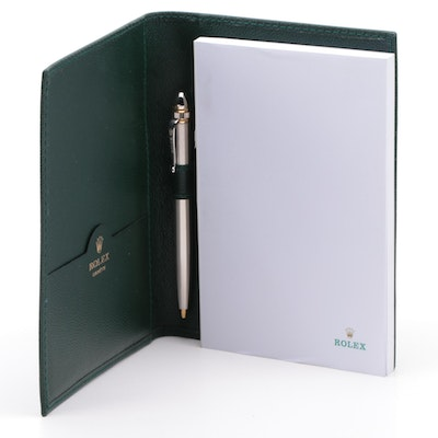 Rolex Green Pebble Leather Note Pad with Pen