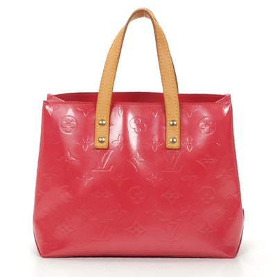 Louis Vuitton Reade PM Tote in Rose Litchi Monogram Vernis Leather