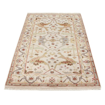 4' x 6'5 Hand-Knotted Indo-Turkish Oushak Area Rug, 2010s