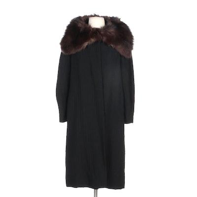 Black Striped Bouclé Wool Knit Swing Coat with Raccoon Fur Shawl Collar