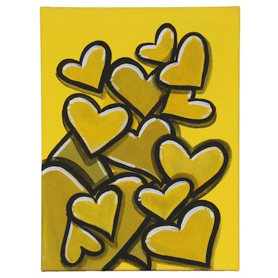 "Bee1ne Acrylic Painting on Canvas ""Spread More Love (Gold),"" 2020"