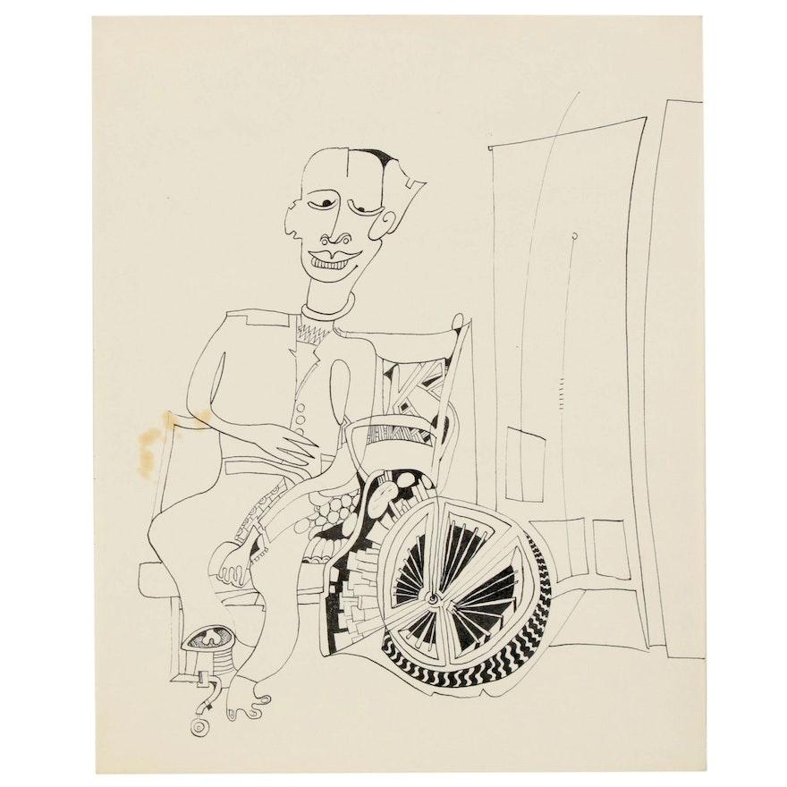 Eduardo Oliva Surrealist Figural Ink Drawing, 1985