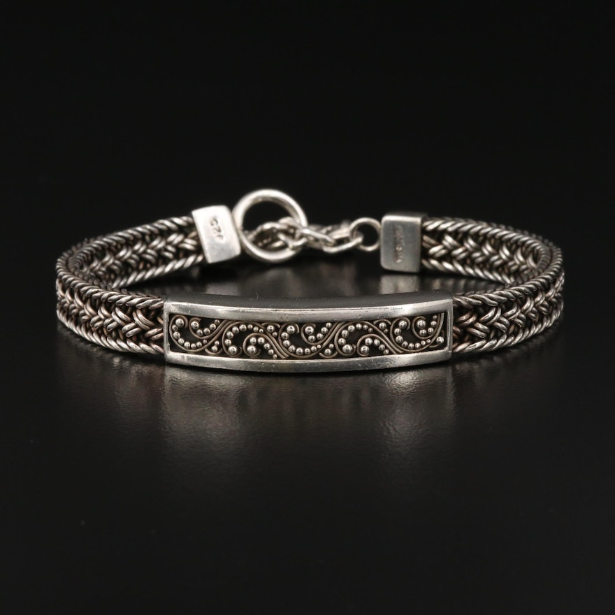 Lois Hill Sterling Silver Braided Bracelet with Granulation Pattern