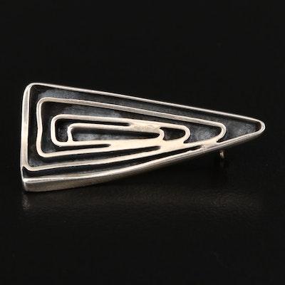 Sterling Silver Triangular Brooch