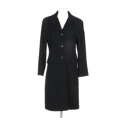 Vakkorama Princess Seamed Black Wool Coat with Notched Collar