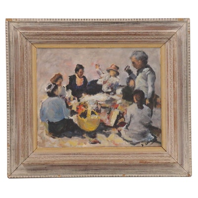 Impressionist Style Oil Painting of a Gathering, Mid-20th Century