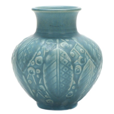 Rookwood Pottery Leaf and Berry Motif Ceramic Vase, 1935