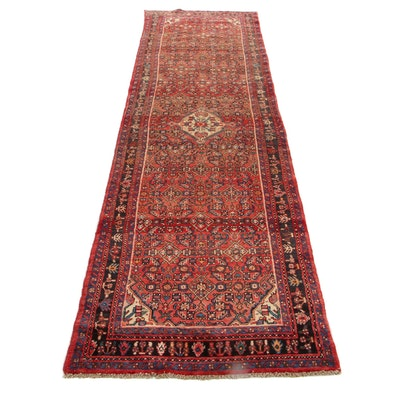 3'4 x 12'3 Hand-Knotted Persian Zanjan Carpet Runner, 1970s