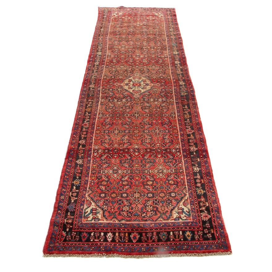 3'4 x 12'3 Hand-Knotted Persian Zanjan Carpet Runner, 1970s