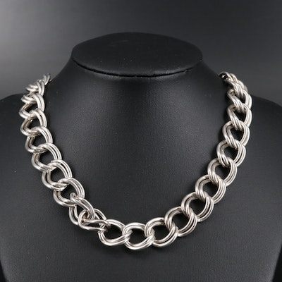 Sterling Silver Double Curb Link Chain Necklace
