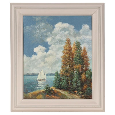 Charles E. Rubino Oil Painting of Coastal Forest Scene, Mid-Late 20th Century